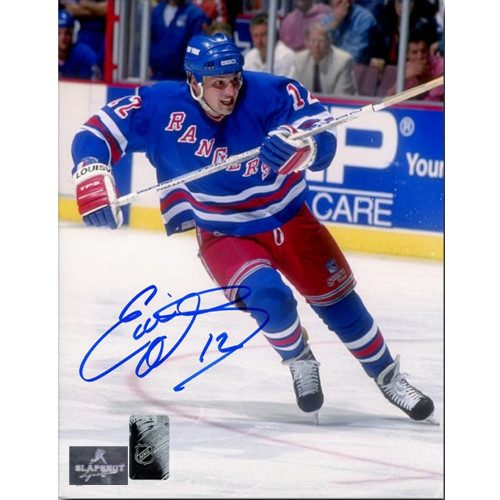 Ed Olczyk New York Rangers Autographed Action 8x10 Photo