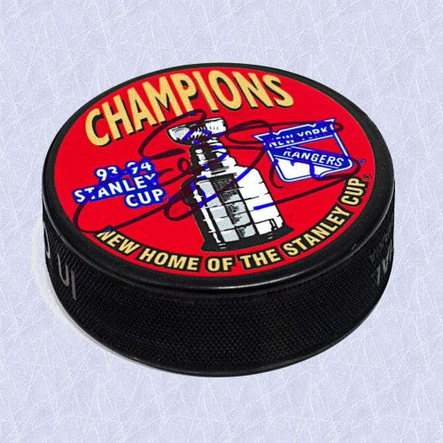 Ed Olczyk Stanley Cup New York Rangers Signed Hockey Puck