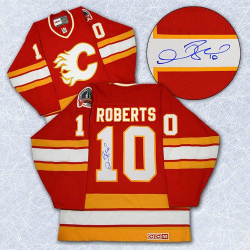 Gary Roberts Autographed Jersey-Calgary Flames 1989 Stanley Cup Retro CCM Jersey