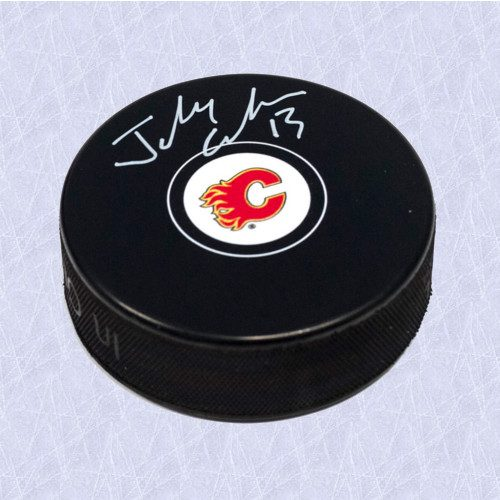 Johnny Gaudreau Autographed Puck-Calgary Flames Model Hockey Puck
