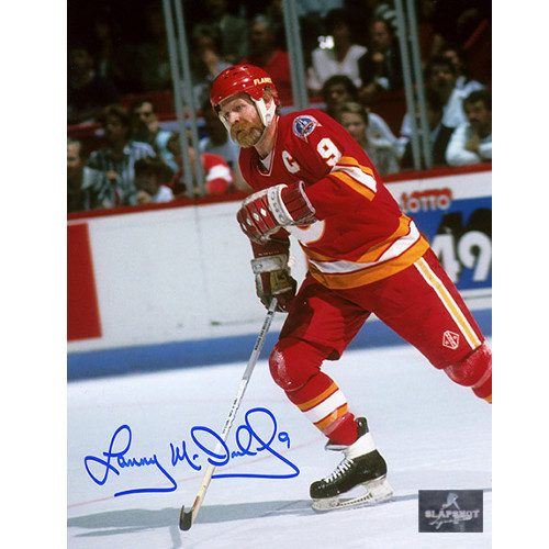 Lanny McDonald Calgary Flames Cup Finals Action 8x10 Signed Photo