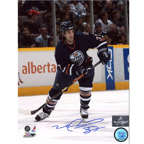 Mike Peca Edmonton Oilers Autographed Hockey Action 8x10 Photo