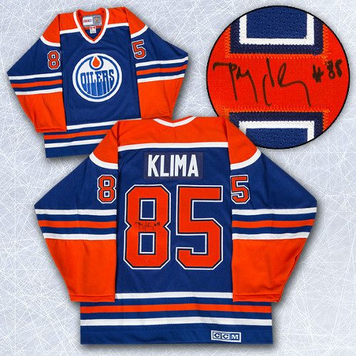 Petr Klima Jersey-Edmonton Oilers Signed Blue Retro CCM Hockey Jersey