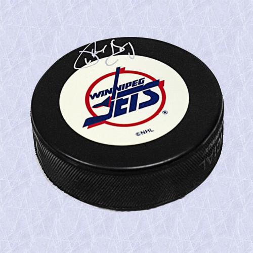 2ee279e0f17 Phil Housley Winnipeg Jets Autographed Vintage Logo Hockey Puck