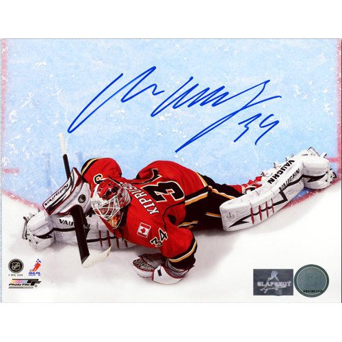 Miikka Kiprusoff Autographed Photo-Calgary Flames Overhead Crease 8x10 Photo