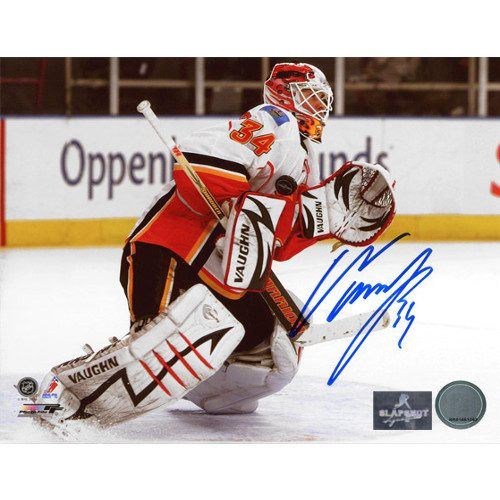 Miikka Kiprusoff Flames White Jersey Save Signed 8x10 Photo