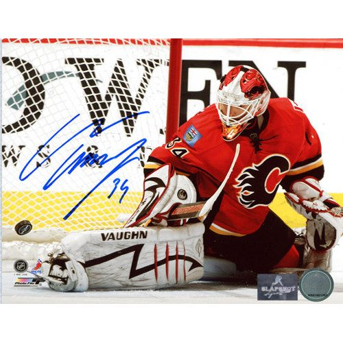 Miikka Kiprusoff Goalie Kick Save Calgary Flames Autographed 8x10 Photo