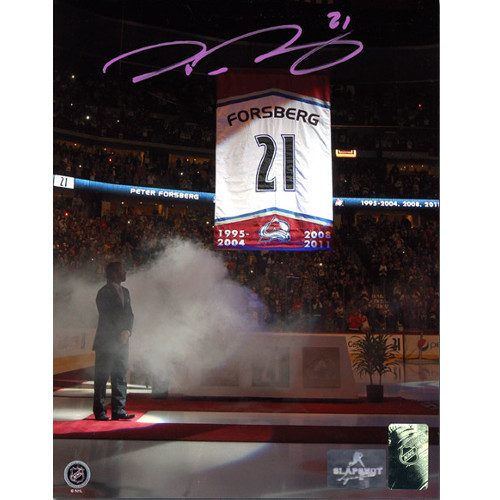 Peter Forsberg Retirement Banner Photo-Colorado Avalanche Signed 8x10 Photo