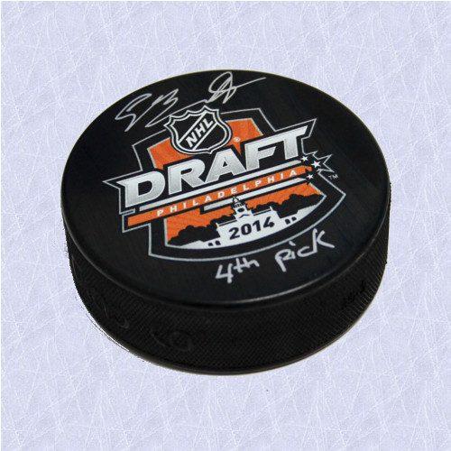 Sam Bennett Draft Day 2014 NHL Puck Autographed w/ 4th Pick Inscription