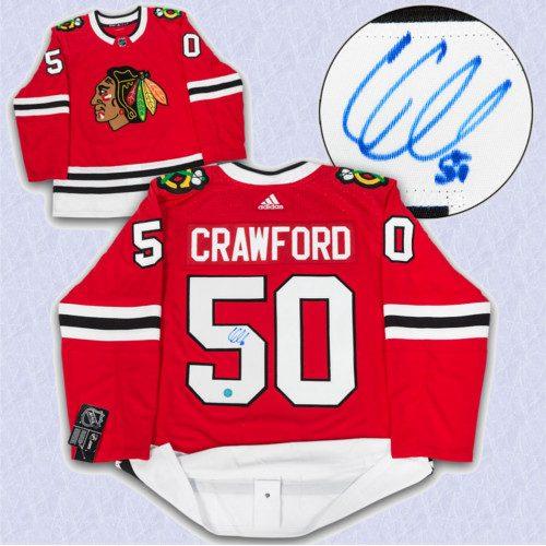 Corey Crawford Adidas Jersey Autographed-Chicago Blackhawks