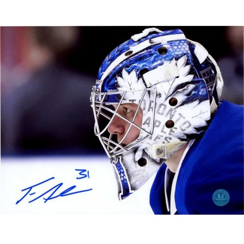 Frederik Andersen Toronto Maple Leafs Autographed Mask CloseUp 8x10 Photo