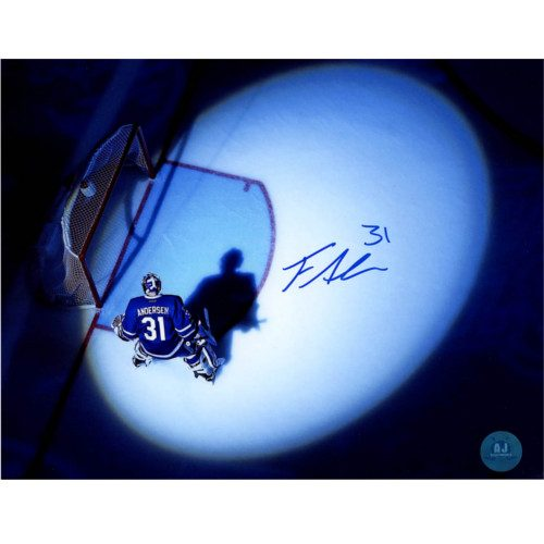 Frederik Andersen Toronto Maple Leafs Autographed Overhead Spotlight 8x10 Photo