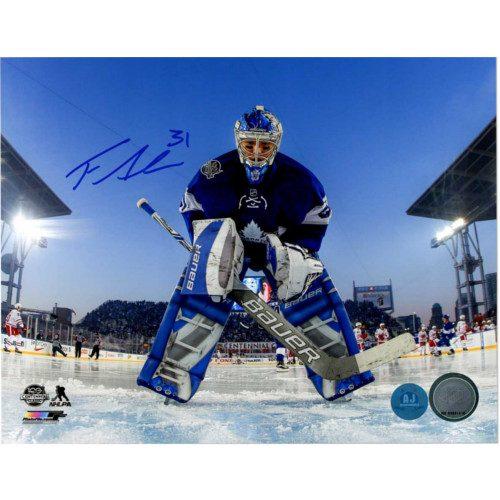 Frederik Andersen Toronto Maple Leafs Signed 2017 Centennial Classic 8x10 Photo