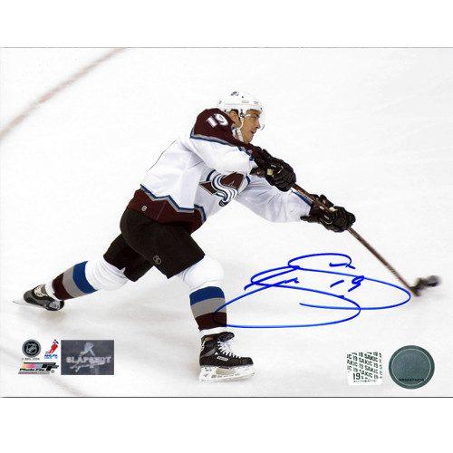 Joe Sakic Colorado Avalanche Autographed Overhead Hockey Action 8x10 Photo