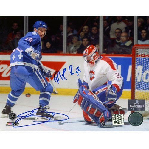 Joe Sakic Quebec Nordiques Dual Autographed vs Roy 8x10 Photo